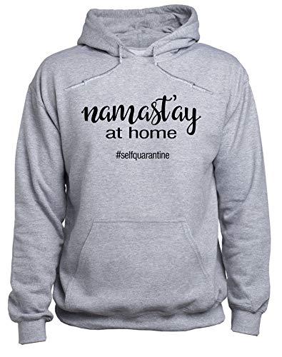 EUGINE DREAM Yoga Namaste Stay At Home CoronaVirus Sweater Unisex Sudadera con Capucha Gris M