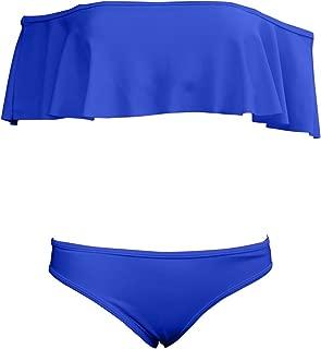 JIANLANPTT Lady Girls Off Shoulder Ruffle Swim Bathing Suit Bikini Two Piece Set