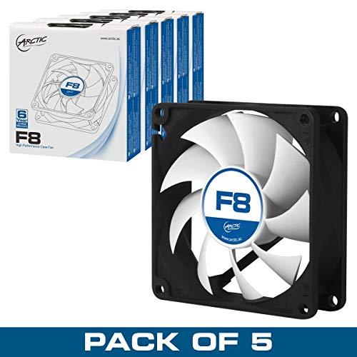 ARCTIC F8 Value Pack (5 Stück) – 80 mm Lüfter optimiert für statischen Druck, Gehäuselüfter, Computer, PC, 2000 RPM – Schwarz