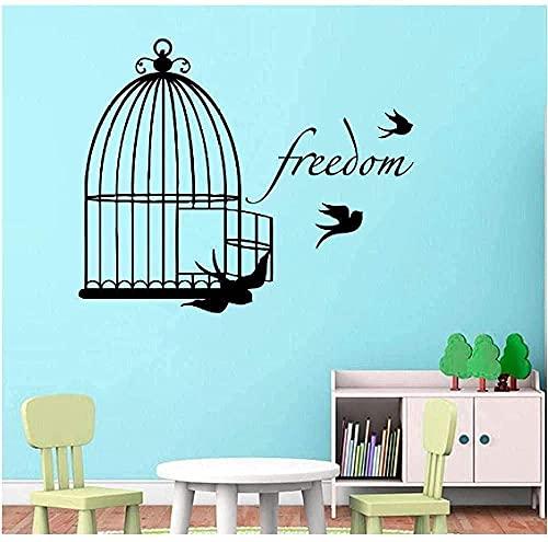 Calcomanías De Pared Con Patrón De Jaula De Pájaros Lindas Adecuadas Para Habitación De Niños Decoración Especial Del Hogar Diseño De Arte Mural De Vinilo 42X50Cm