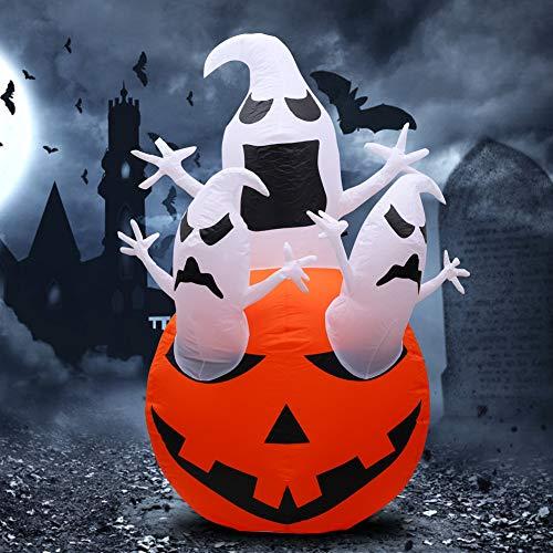 yidenguk inflables de Halloween, 4.9ft de Altura Calabaza decoración chost con Luces led Gigante de Halloween Calabaza Inflable al Aire Libre Cubierta de Vacaciones decoración de la Yarda del jardín