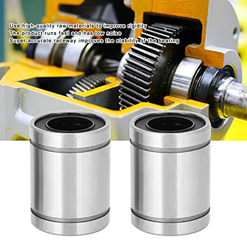 Rodamiento de bolas de movimiento lineal con brida, LM16UU Rodamiento de bolas de movimiento lineal con cilindro Movimiento suave de baja fricción para impresora CNC 3D, Guía de riel lineal
