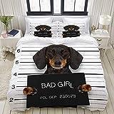 MIGAGA Bedding Bedrucktes Bettbezug-Sets,Dackel-Wurst-Hund mit Polizei,Mikrofaser Kinder Student Schlafsaal Bettwäsche Set (1 Bettbezug + 2 Kissenbezüge)
