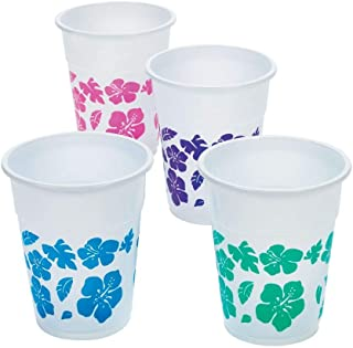 Fun Express - Hibiscus Design Disposable Cups (50pc) for Summer - Party Supplies - Drinkware - Disposable Cups - Summer - ...