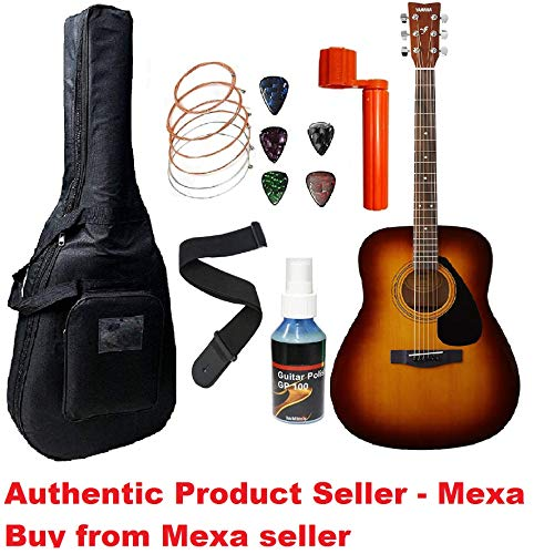 Yamaha F310, Dreadnought Acoustic Guitar With Sponge Bag, Belt & Plectrums Combo Pack By Mexa.