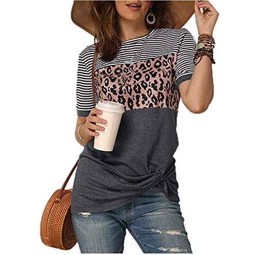Adeliber 2020 Womens Leopard Print T Shirts Stripe Twist Knot Tunic Tops Short Sleeve Casual Blouses(C-Gray,S)