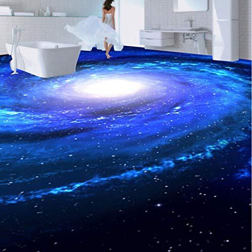 Hyiiw Blue Space Star Fototapete Anti Wear Bodenaufkleber Wandbild Moderne 3D Wohnzimmer Pvc Selbstklebende Vinylboden Tapeten-120X100Cm