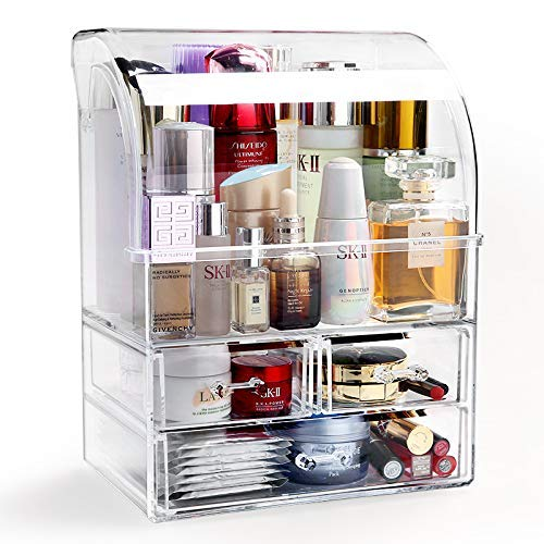 """ANAN Baby Makeup Organizer Acrylic Cosmetic Storage Drawers and Jewelry Display Box Dustproof and Waterproof 9.5"""" W x 6.3"""" D x 12.5"""" H"""