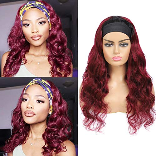 Body Wave Human Hair Headband Wigs for Women 180% Density None Lace Front Wigs 1B Burgundy Body Wave Headband Wig 100% Brazilian Hair Machine Made Headband Body Wave Wigs 18 Inch
