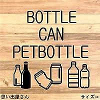 【職場やご家庭にも】缶、瓶、ペットボトルが一緒のゴミ分別シール【インテリア・DIY】 (黒)