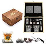 Whisky Stones, Whisky Glass Gift Set, Large Whiskey Rocks Stilling Stones, Coasters Stones & Bar...