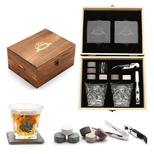 Whisky Stones, Whisky Glass Gift Set, Large Whiskey Rocks Stilling Stones, Coasters...