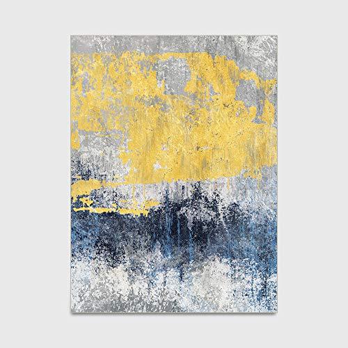 Tapijt Moderne eenvoudige blauw geel grijs Gebied Tapijt Antislip vloermat Kunstwerk Kinderkamer Vloer Tapijt Yogamat voor Living Eetkamer Slaapkamer Keuken,150 * 200cm