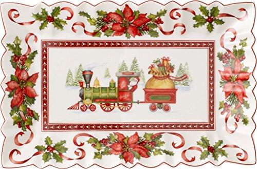 Villeroy & Boch 1483322216 Toy's Plat à Gâteaux Carré Toy's Fantasy Motif Train/Arts de la Table de Noël Porcelaine Multicolore 36 x 25,1 x 3,9 cm