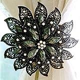 WHLJKN Anillo de Cortina,Cortina de imán en Forma de Flor Anillos de Amarre Resorte Diamante de imitación de Alambre de Acero Cortina magnética Hebilla Clips Accesorios para Soporte de Ventana, Ne