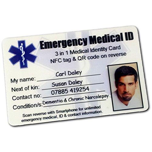 Emergency Medical ID Portemonnee Kaart. 3 in 1. Smartphone Compatibel Contactloos houdt UNLIMITED Emergency ID, Contact en Medische Informatie vast. Paramedicus Scan Card met ANY Smartphone om zoveel mogelijk informatie te onthullen als u wilt verstrekken.