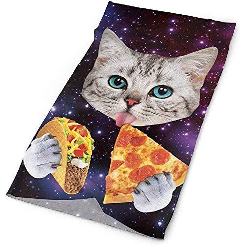 Outdoor Sports Bandana Headbands Galaxy Cat Eat Pizza Multifunctional for Outdoor and Sport Activities