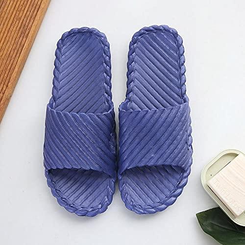 Ririhong Zapatillas de baño de Verano para Mujer, hogar, Interior, Antideslizante, Fondo Grueso, Pareja, Sandalias de baño, Chanclas, cute-44-45_Navy_blue1