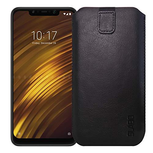 Slabo Schutzhülle für Xiaomi Pocophone F1 | Poco F1 Schutztasche Handyhülle Hülle mit Magnetverschluss aus Kunstleder - SCHWARZ | Black