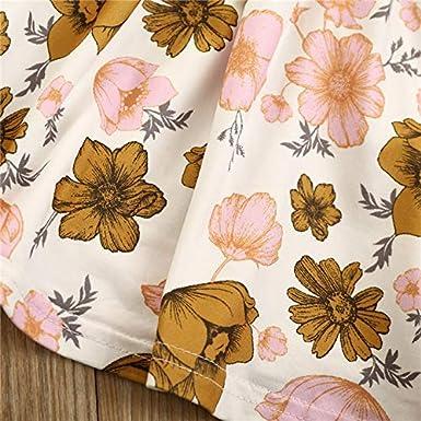 Toddler Baby Girls Skirt Set Ruffle Tops+Floral Suspender Skirt+Bowknot Headband 3Pcs Toddler Girl Outfits