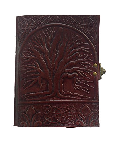 Handmade Leather Diary Sketch Book Journal Celtic Tree of Life Embossed Gift for Yourself Or Someone You Love, Leather Journal Notebook - Size 7' x 5', Brown
