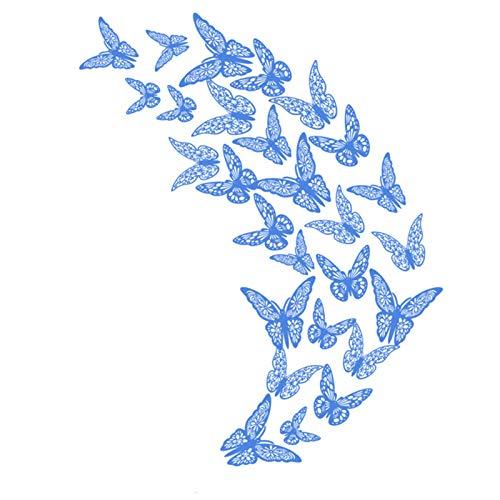 Heroicn 3D Hohl Geschnitzte Schmetterling Wandaufkleber 3 Größen Aufkleber Zimmer Wanddekoration für Party Schlafzimmer Hochzeit (Color : Blue, Size : 36pcs)