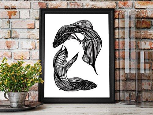 Betta Orbit - Fish Inspired Ink Drawing - Art Print