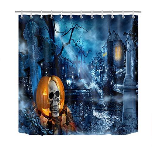 weifei888 Juego de Cortinas de baño con Calavera de Calabaza en Tela de Halloween