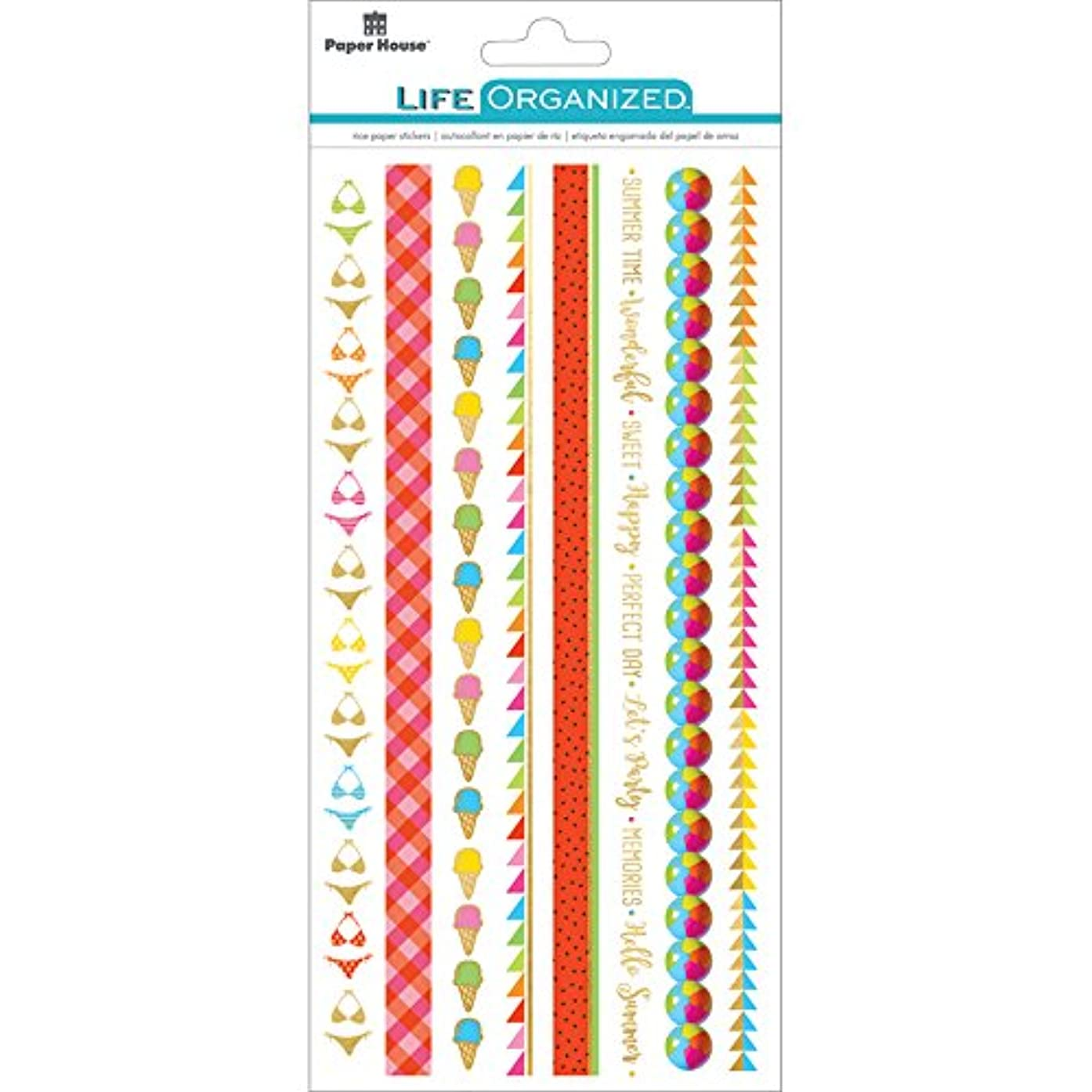 Paper House Productions Summer Fun Stickers, Rice Borders, 3-Pack,