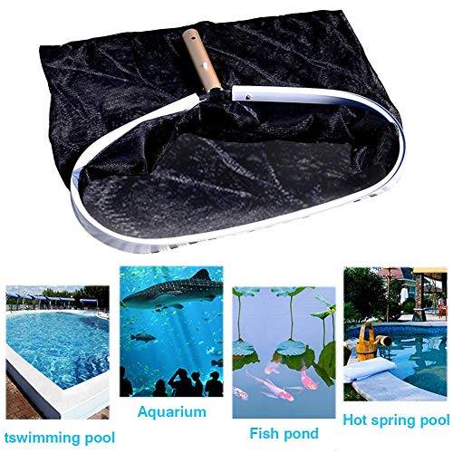 schepnet voor zwembad, schepnet voor vloer, grote inhoud, frame van aluminium, zwart, diepwaternet – eenvoudige reiniging.