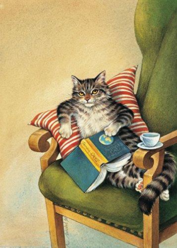 Postkarte A6 • 1212 ''Lesekatze'' von Inkognito • Künstler: Reinhard Michl • Katzen