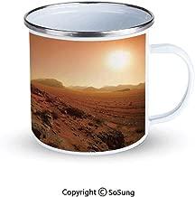 Galaxy Sportsmans Camping Enamel Travel Mug,Landscape from the Movie Fantastic Fictional Galaxy War Pattern Sunset Mountains Outdoor Enamel Mug,Brown Yellow