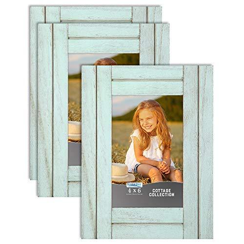 Icona Bay 6 x 4 Marcos de Fotos (cáscara de Huevo Azul, Paquete de 3), Juego de Marcos de Fotos rústicos, Marcos de Madera Natural, colección Cottage