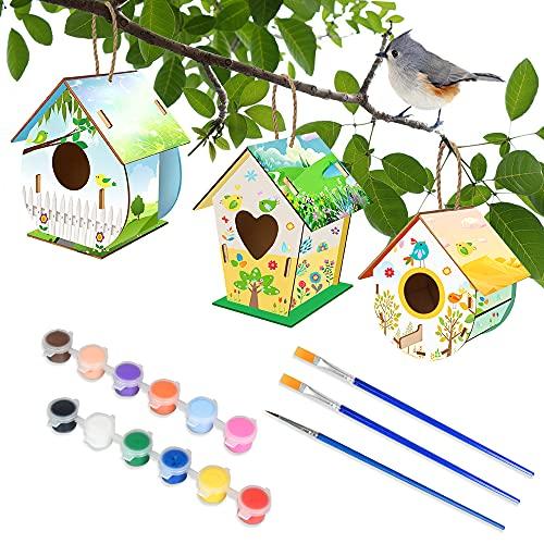 Casetta Uccellini Legno Verniciabile, MMTX 3 Pezzi Casetta in Legno per Bambini Costruire e Dipingere DIY Artigianato Include Colori e Pennelli, Oggetti in Legno per Bambine e Bambini