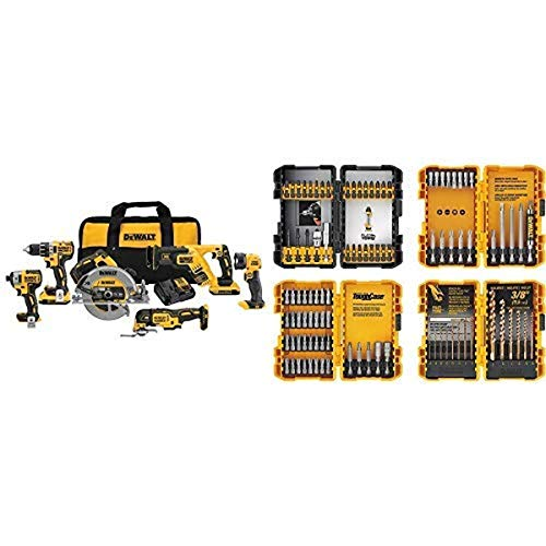 DEWALT 20V MAX XR Brushless Combo Kit Compact 6-Tool (DCK684D2) with DEWALT DWA2FTS100 Screwdriving and Drilling Set 100 Piece