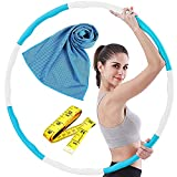 Hula Hoop, 8 Secciones Professional Hula Hoop Desmontable, Material de Acero Inoxidable, Puede Perder Peso y Hacer Ejercicio, Adecuado para Fitness, Gimnasia, con Mini Cinta Métrica (Azul Blanco)