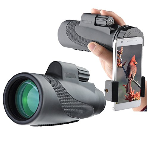 Mmsdt Kit De Montaje Monocular Smartphone 12X50 para Observación De Aves Conciertos De Vida Silvestre Juegos De Pelota BAK4 Prisma Telescopio De Lente FMC para Imágenes Nítidas Y Brillantes