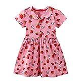 FILOWA Baby-Mädchen Kleider Kinder Umlegekragen Kleid Erdbeere Drucken Kurzarm Baumwolle Casual Sommerkleid Rosa Rot 2-3 Jahre,3T