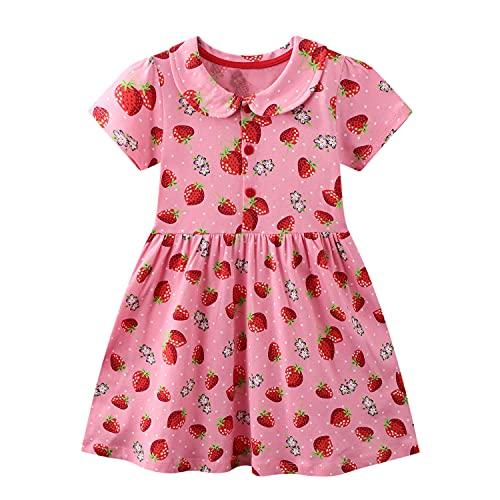 FILOWA Baby-Mädchen Kleider Kinder Kleid Erdbeere Rosa Rot Mit Kragen Sommer Kurzarm Baumwolle Casual Bunt Alltag Kinderbekleidung Mädchenkleid Party Festlich Prinzesin Geschenk 2 3 Jahre