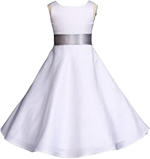 ce2acc1fc69 Wedding Pageant White A-Line Matte Satin Jr. Bridesmaid Flower Girl Dress