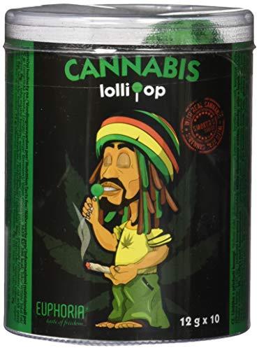 Euphoria Cannabis Lollipops (10 Stück) | Kugel Lutscher - Lolly mit Hanf Geschmack (Hanf, Regular)