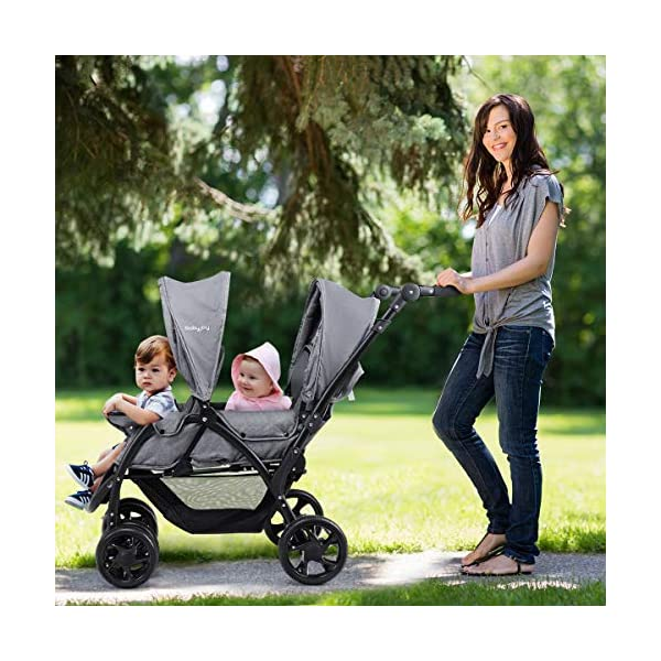 GYMAX Double Seat Stroller with Adjustable Push Handle and Foot Rest, Detachable Canopy, Foldable Baby Pushchair Buggy for Traveling, Going Shopping, Hanging Out GYMAX ✔DOUBLE SEAT DESIGN: The baby Stroller has front and back seats for two babies which can free your hand and no need for cuddling the baby, you can take care of two babies together. ✔MULTIPLE ADJUSTABLE POSITION: There are four adjustable parts: handlebar, canopy, footrest and backrest, the thoughtful design allow you to set a suitable position in different condition and make baby feel comfortable without crying. ✔360°SWIVEL WHEELS WITH BRAKES: The front wheels with anti-shock function can go any direction, the rear wheels have a connector that can be braked in one step. 2