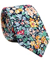 DAZI Men's Skinny Tie Floral Print Cotton Necktie, Great for Weddings, Groom, Groomsmen, Missions, Dances, Gifts. (Electric Feel)