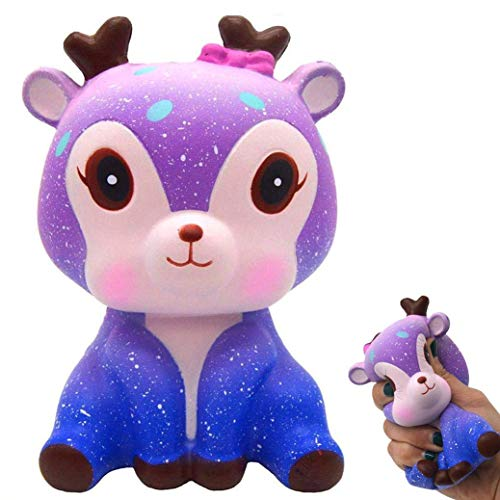 Eholder Slow Rising Jumbo Squishies Galaxy Deer Squishys Toy, Kawaii Squishys for Girl Boys Kids Toy Stress Relief Squeeze Toy
