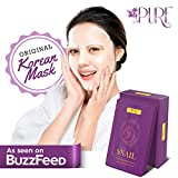 LA PURE Korean Face Mask - Hydrating Sheet Mask, Beauty Snail Mask, Anti-Wrinkle Korean Skin Care, Anti-Aging Sheets Pack, Hydration Mask, Deep Moisturizing Facemask, 10 Facial Masks for Women & Men