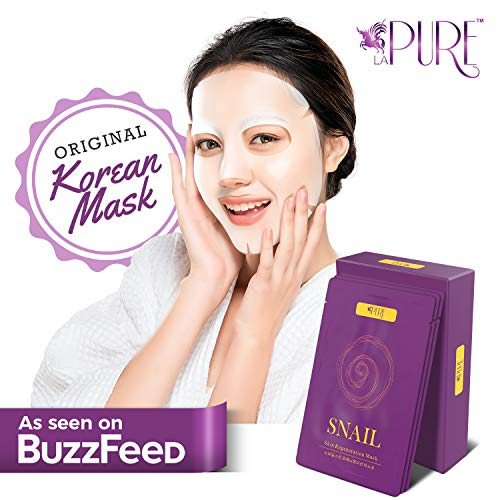 LA PURE Korean Face Mask - Hydrating Sheet Mask, Beauty Snail Mask, Anti-Wrinkle Korean Skin Care, Anti-Aging Sheets Pack, Hydration Mask, Deep Moisturizing Facemask, 10 Facial Masks for Women & Men