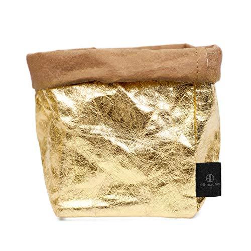 stil-macher Designer Krempelkorb - Gr. M - | Aufbewahrungskorb aus waschbarem Papier | Lederoptik | VEGAN | Deko-Box | Geschenkbox | Übertopf (Gold, Eckig)