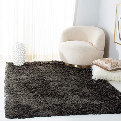 Safavieh Paris Shag Collection SG511 Handmade Silken Glam 2.5-inch Thick Area Rug, 5′ x 8′, Titanium