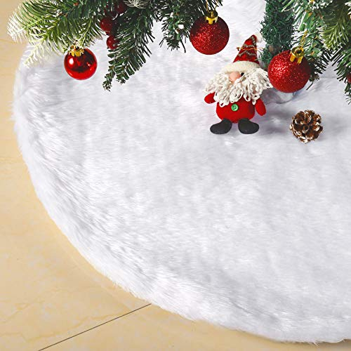 NIMONI Christmas Tree Skirt 36 Inch Luxury Faux Fur Carpet White Christmas Tree Skirt for Holiday Decoration New Year Party