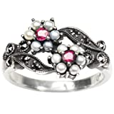 Gemini Cultured Seed Pearl Sterling Silver Ring, Ruby (Size 7) - Dahlia Vintage Collection
